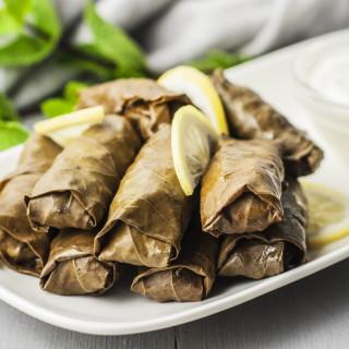 Dolmathakia me Kima: Stuffed Grape Leaves With Meat and Rice