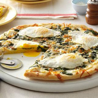 Easy Pizza with Sautéed Greens, Garlic & Eggs