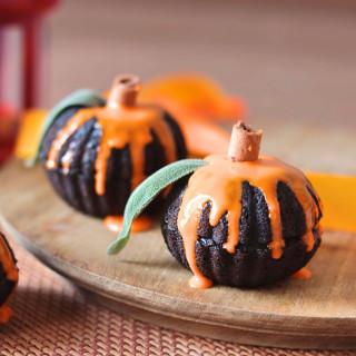 Eggless Chocolate Pumpkin Mini Cakes