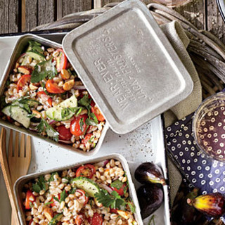 Farro Salad with Cherry Tomato, Onion, and Almonds