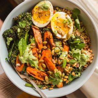 Farro with Caramelized Carrots, Crispy Broccolini, and Herby Yogurt Dressin