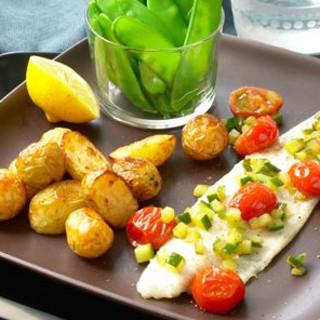 Flødebagt ørredfilet med små kartofler