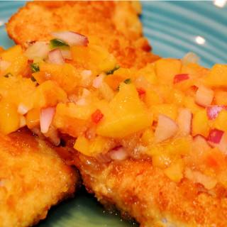 Crispy Fresh Fish with Peach Salsa