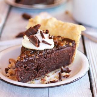 Fudge Browne and Chocolate Frangelico Crème Brûlée Pie
