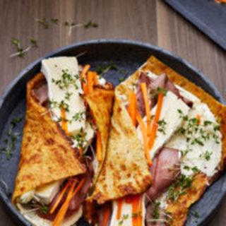 Gluten-free wrap with deli roast beef and Brie cheese
