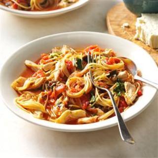 Grecian Pasta and Chicken Skillet Recipe