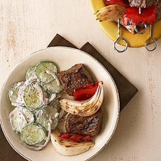 Greek Beef Kabobs with Cucumber Salad