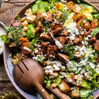 Greek Chicken Chopped Salad with Lemon Tahini Vinaigrette.