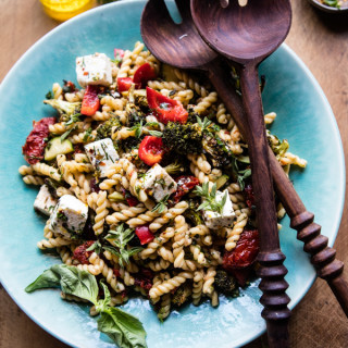 Greek Lemon Garlic Roasted Broccoli Pasta Salad