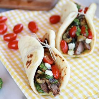 Greek Steak and Pesto Salad Pitas