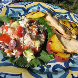 Greek-style rice salad