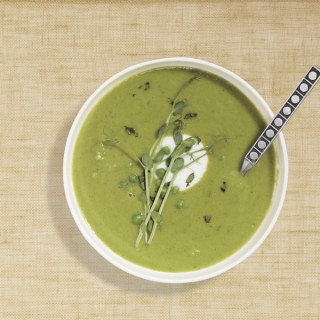Green Pea Soup with Tarragon and Pea Sprouts