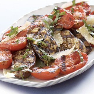 Grilled Baby Eggplant and Plum Tomatoes with Fresh Basil