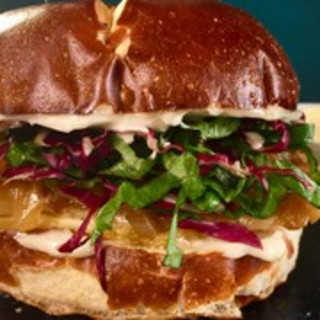 Grilled Chicken Sandwich on a Pretzel Bun