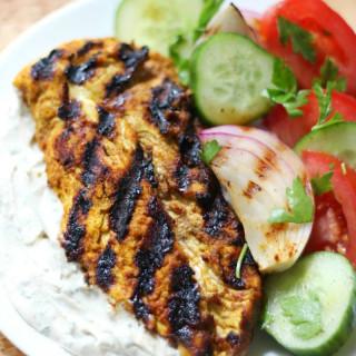 Grilled Chicken Shawarma with Yogurt Tahini Sauce and Marinated Veggies (Gl