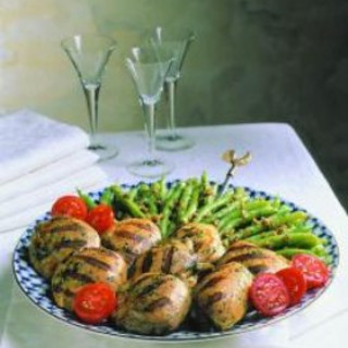 Grilled Chicken with Green Beans and Walnuts