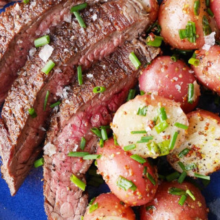 Grilled Flank Steak with Mustardy Potato Salad