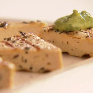 Grilled Herbed Tofu with Avocado Cream
