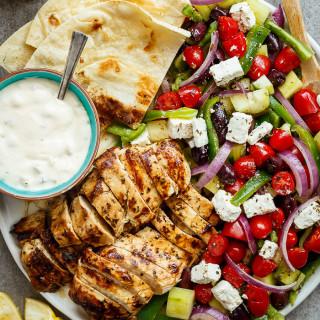 Grilled Lemon Garlic Chicken Greek Salad
