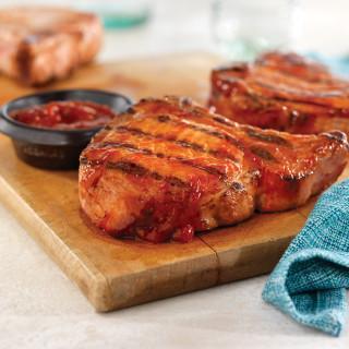 Grilled Ribeye (Rib) Pork Chops with Easy Spicy BBQ Sauce