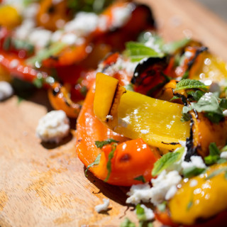 grilled tri-color peppers