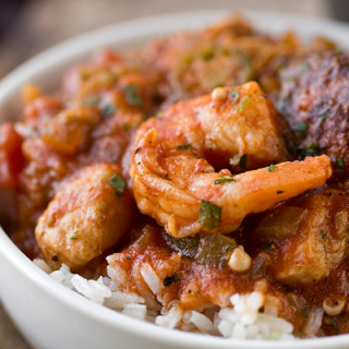 """""""Gumbo-laya"""" Stew with Spicy Sausage, Chicken, Shrimp and Okra over Fragran"""