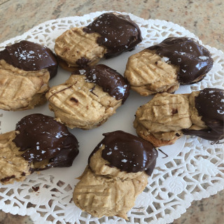 Healthier Homemade Nutter Butter Cookies...Dunked in Chocolate.