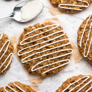 Healthy Iced Gingerbread Oatmeal Cookies
