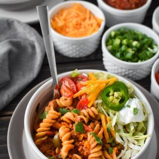 Healthy Instant Pot Cheesy Taco Pasta {21 Day Fix}