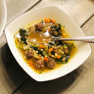 Italian Wedding Soup with Fullblood Wagyu Meatballs