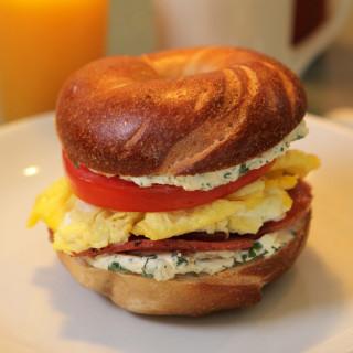 Jersey Ham, Egg, Bagel and Herb Cream Cheese Breakfast Sandwich