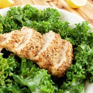 Kale Caesar Salad with Almond-Crusted Chicken | Paleo Grubs
