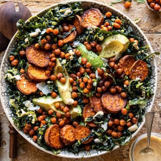 Kale Caesar Salad with Sweet Potatoes and Crispy Chickpeas