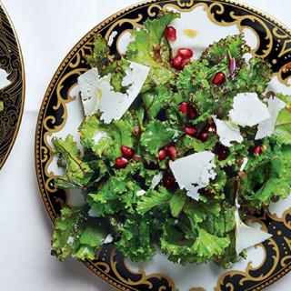 Kale with Pomegranate Dressing and Ricotta Salata