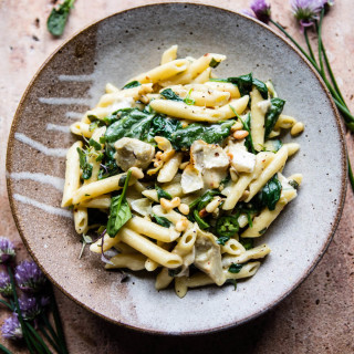 Lemony Spinach and Artichoke Brie Penne Pasta