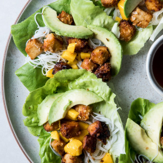 Lettuce Cups with Crispy Coconut Tofu, Rice Noodles, Mango, and Avocado