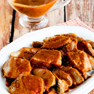 Low-Carb Slow Cooker (or Pressure Cooker) Pork Roast with Spicy Peanut Sauc