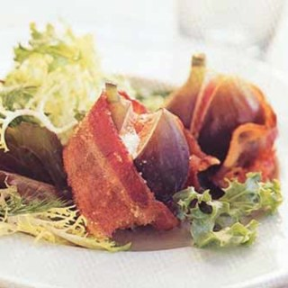 Mesclun Salad with Goat Cheese-Stuffed Figs Wrapped in Bacon