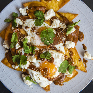 Mole Fried Eggs And Tortilla Chips