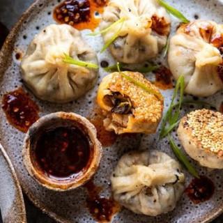 Mushroom dumplings with sweet chili ginger sesame sauce