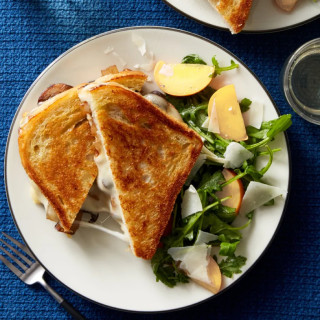Mushroom Grilled Cheese Melt with Nectarine Salad
