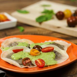 Mushroom Ravioli with Avocado Pesto