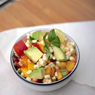 Nectarine & Raw Corn Salad with Avocado, Basil & Lemon