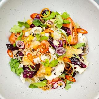 Nhoam Trey Mhasamout (Grilled Halibut Salad)