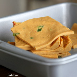 Nut Free Vegan Nacho Cheese Slices. Gluten-free Recipe