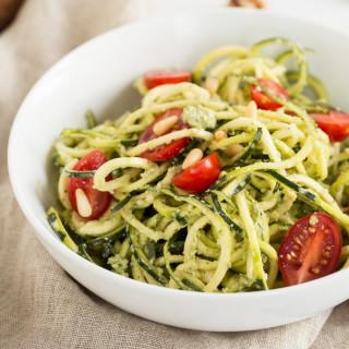 Oil-Free Walnut Pesto Zucchini Noodles