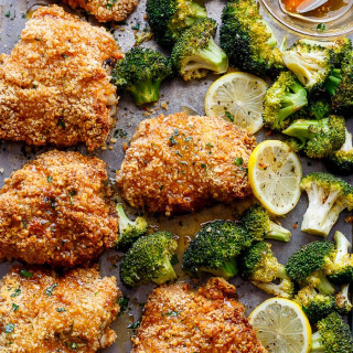 Oven Fried Chicken with Broccoli & Honey Garlic Sauce