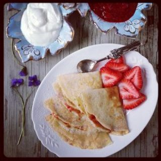 Peanut Butter Crepes with Strawberry Sauce