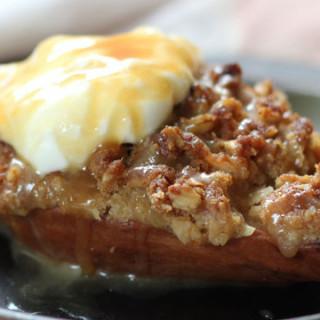 Pear Crisp With Salted Bourbon Caramel