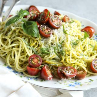 Pesto Spaghetti with Summer Squash